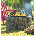 Faux Tree Stump Fire Pit with Spark Guard
