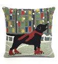 Skating Dog Throw Pillow